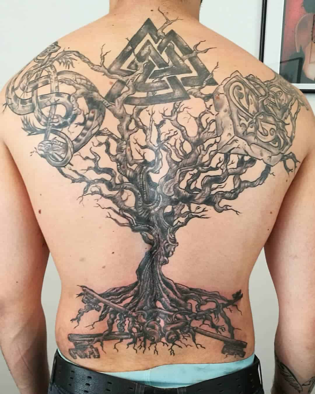 Gorgeous Back Piece Celtic Tattoo For Men
