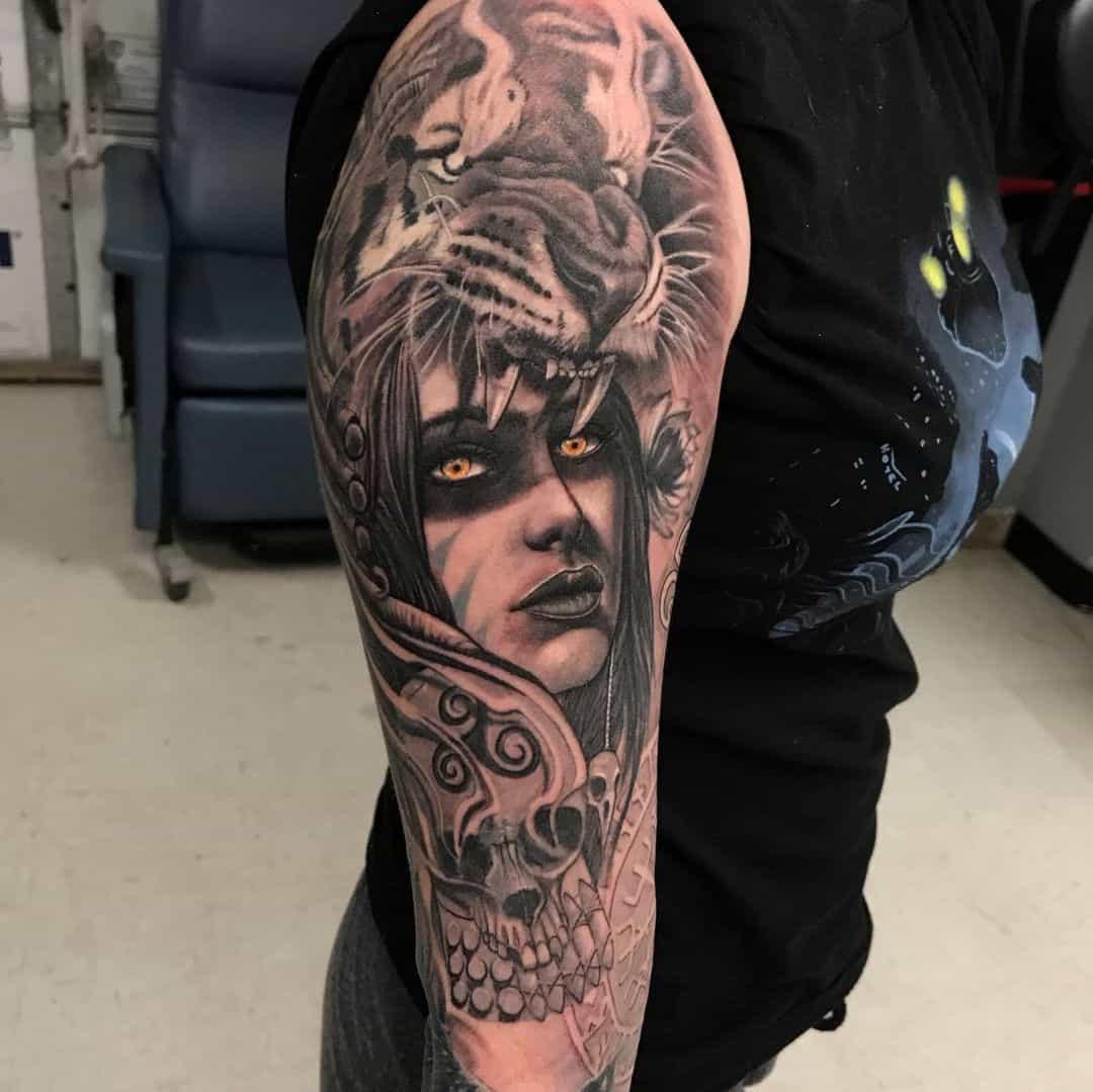 Gorgeous Sleeve Design Celtic Tattoo Woman Print