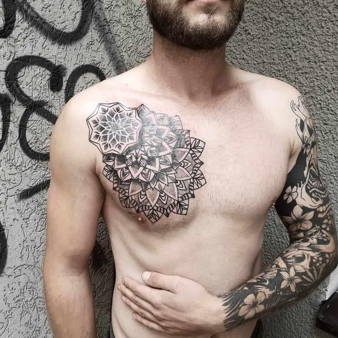 Mandala Sleeve Tattoo With Heart Tribal Ink