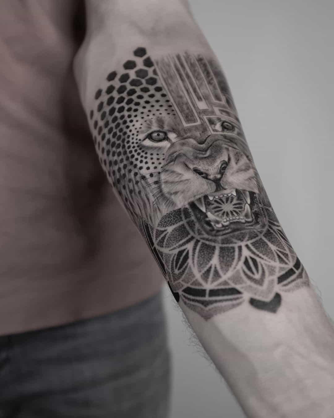 Mandala Tattoo Arm Design Lion Inspired