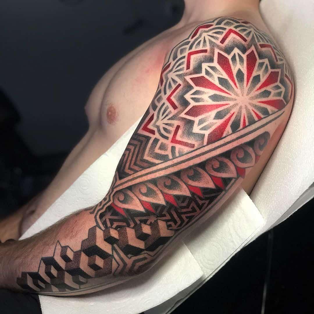 Mandala Tattoo Arm Red & Black Design