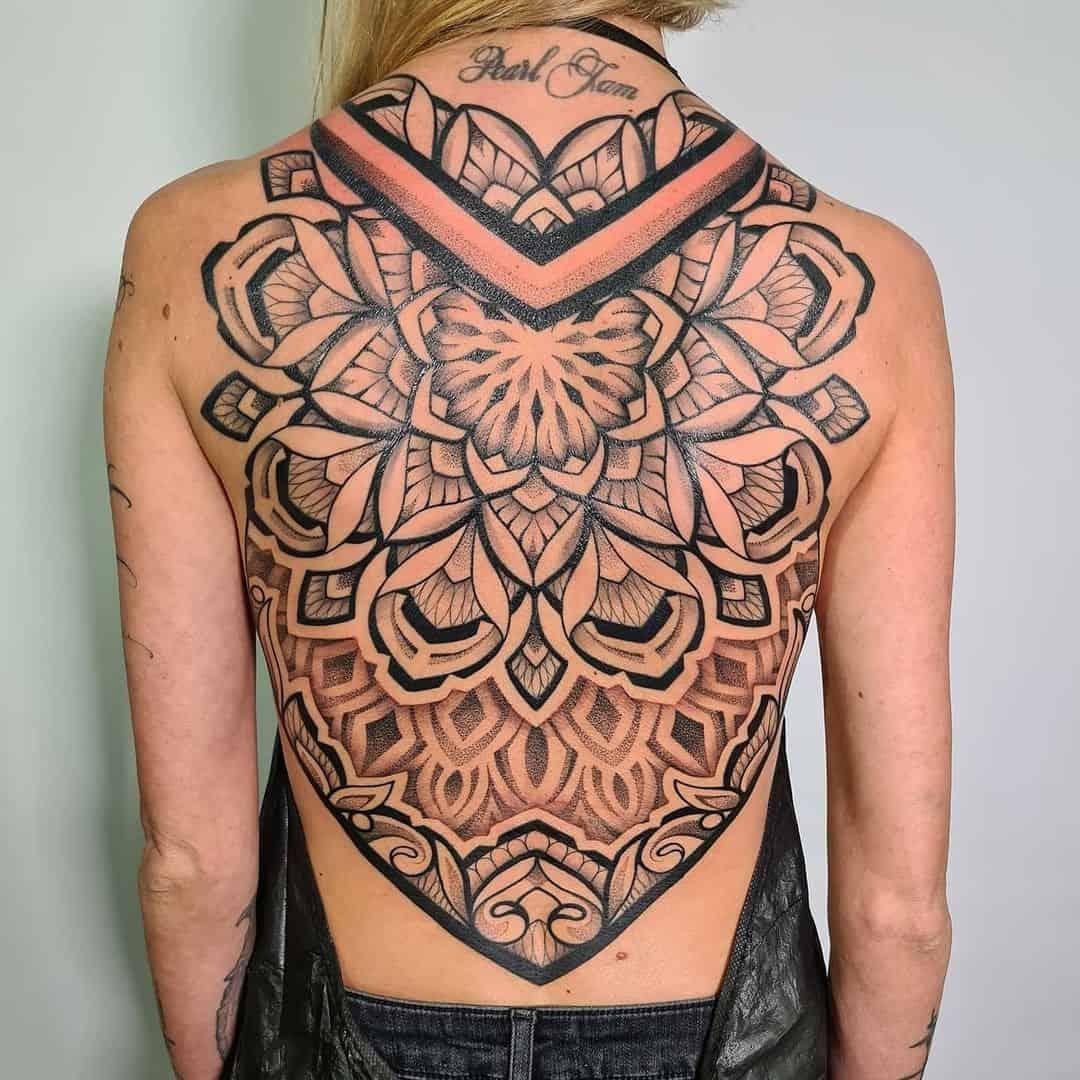 Mandala Tattoo Back Design For Women