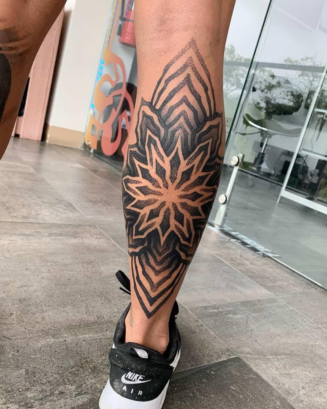Mandala Tattoo For Men Calf Design
