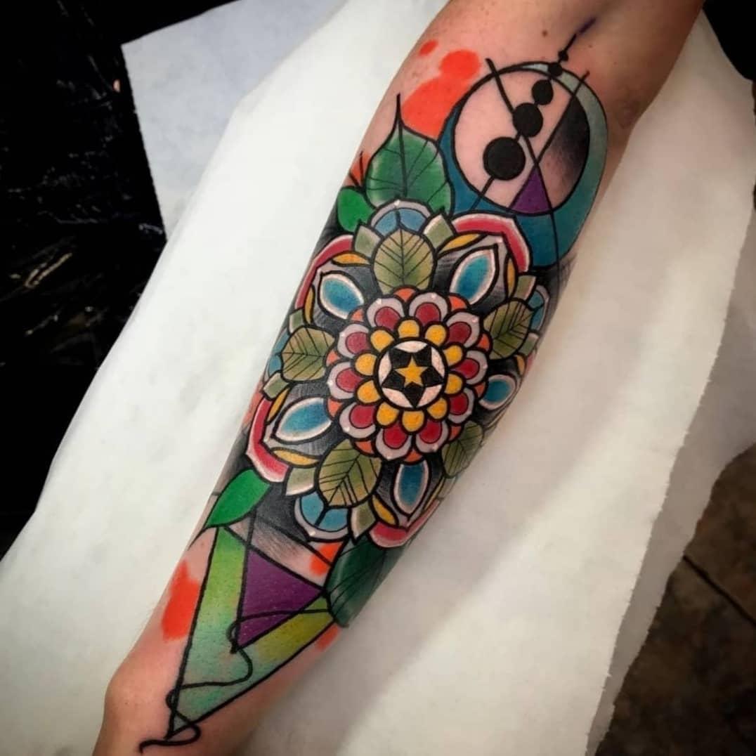 Mandala Tattoo Sleeve Colorful Design