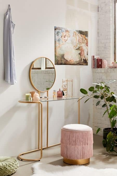 . Petite Pink Vanity Table For Small Room