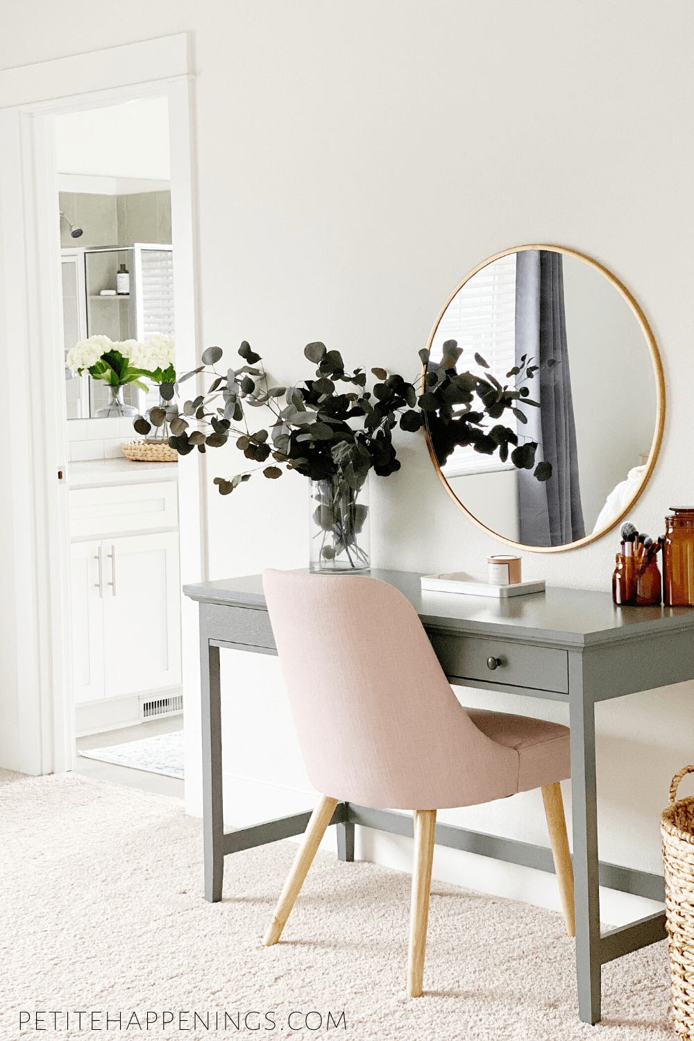 . Pink & Grey Vanity Table
