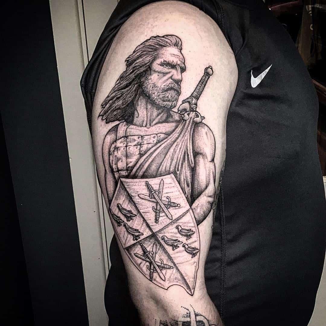 Scottish Tattoos Warrior Black & White Ink Tattoo