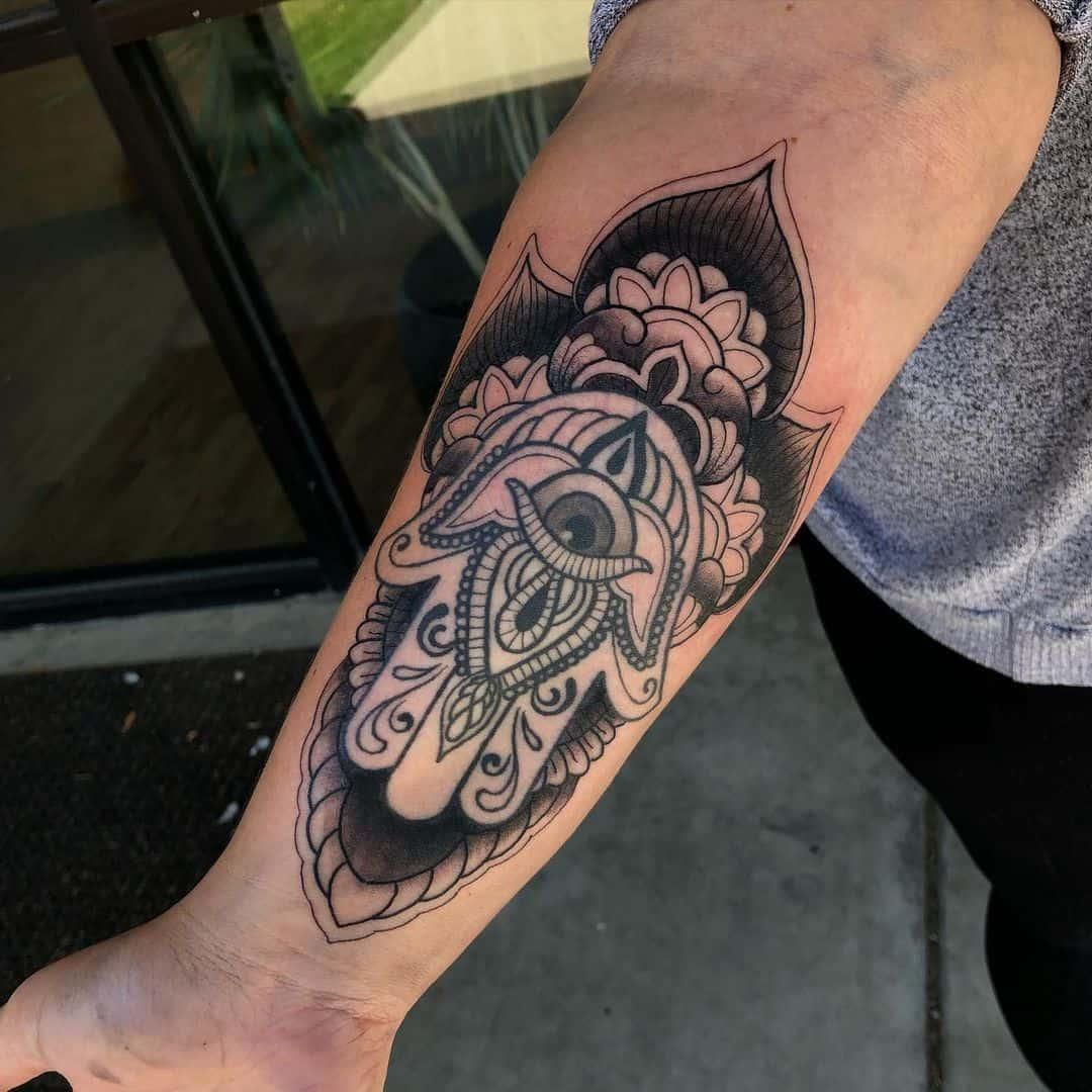 Simple Mandala Tattoo Over Forearm