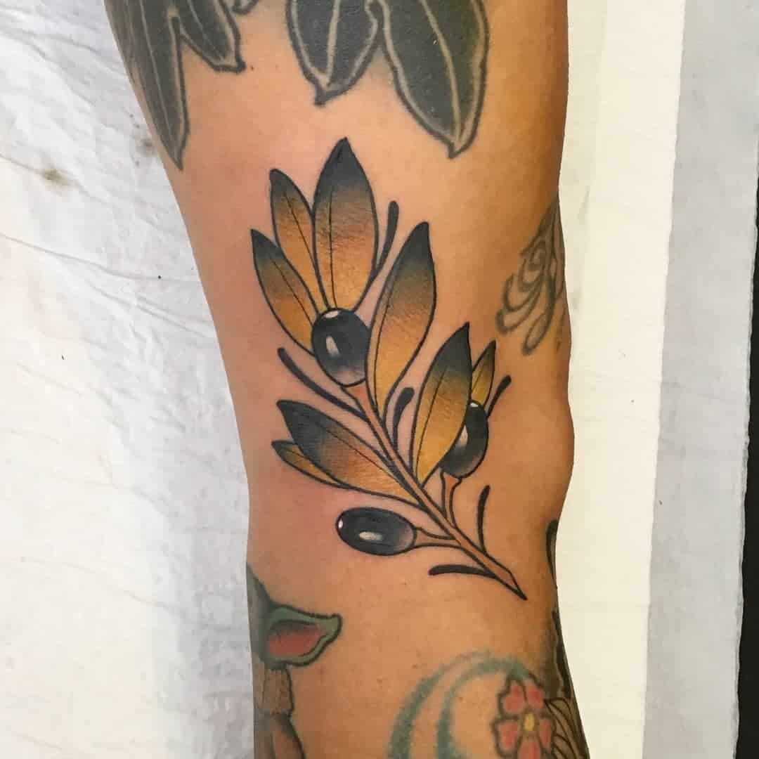 Artsy Olive Branch Tattoo Male