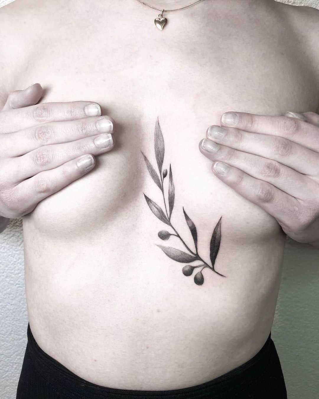 Chest Feminine Olive Branch Tattoo Design