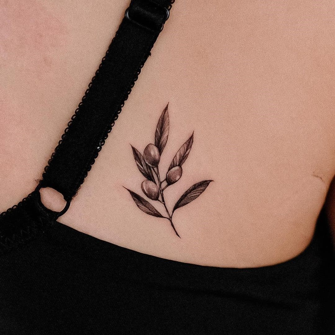 Small Black Minimalist Branch Olive Tattoo