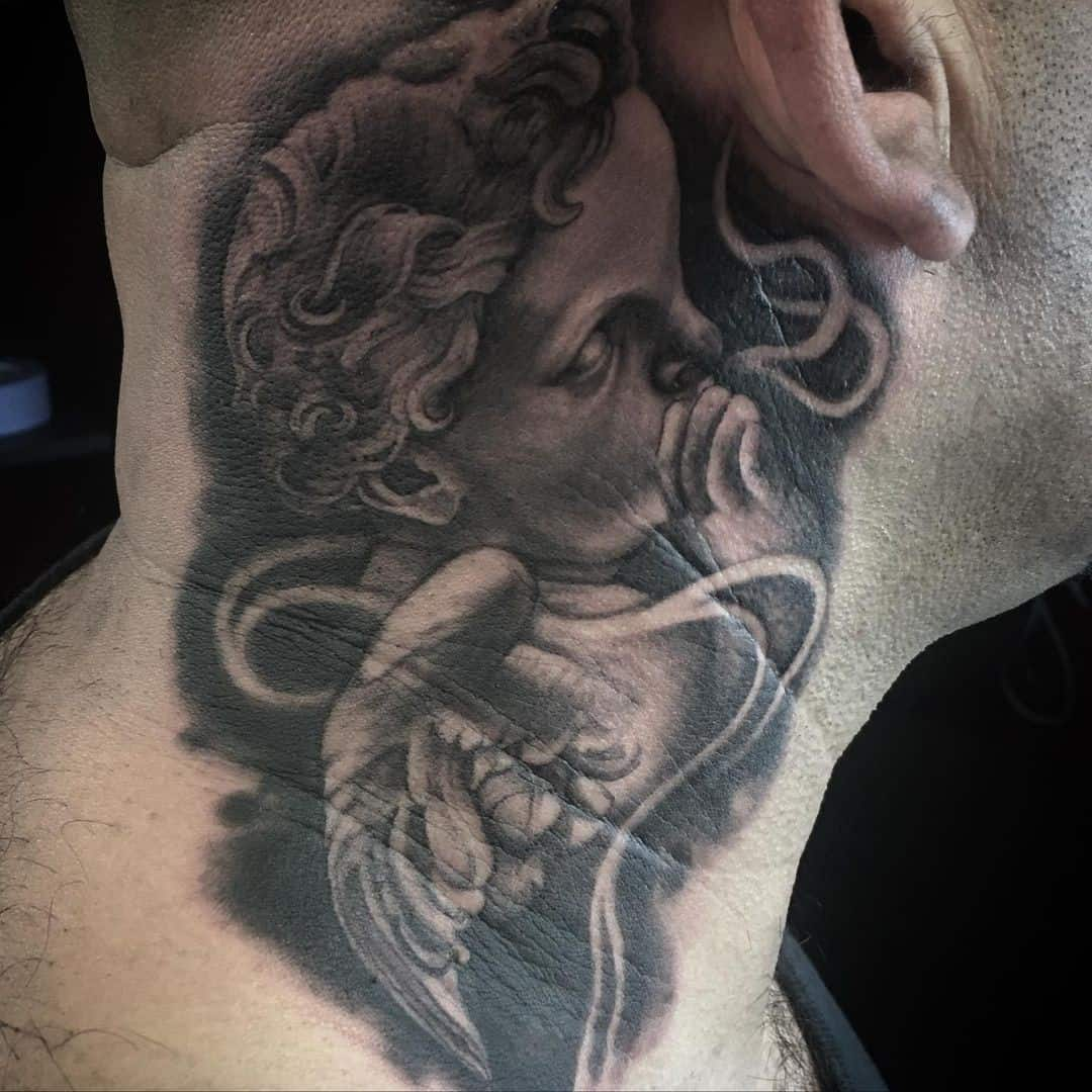 Angel neck tattoos 1
