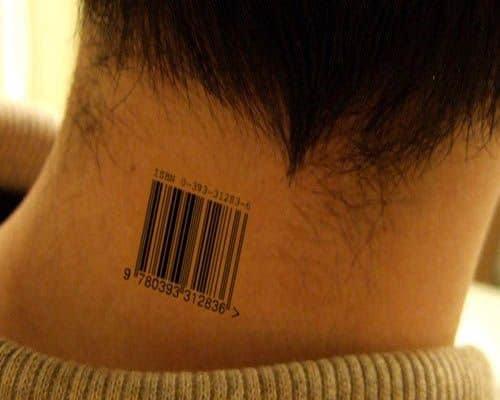 Barcode Neck Tattoo