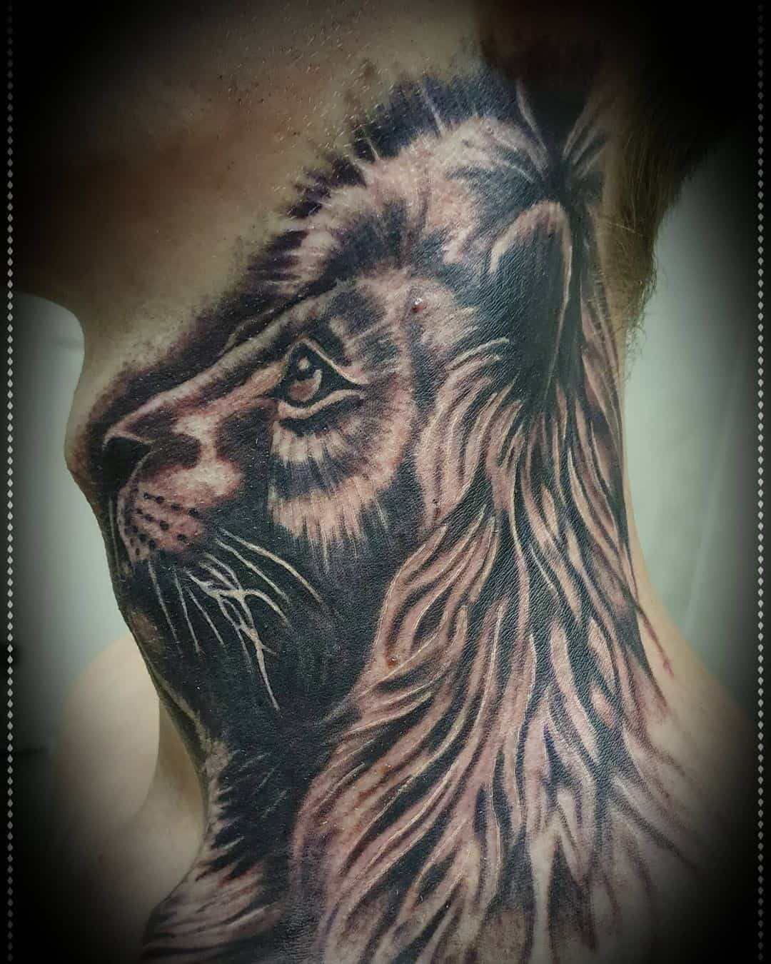 Lion Neck Tattoo 3