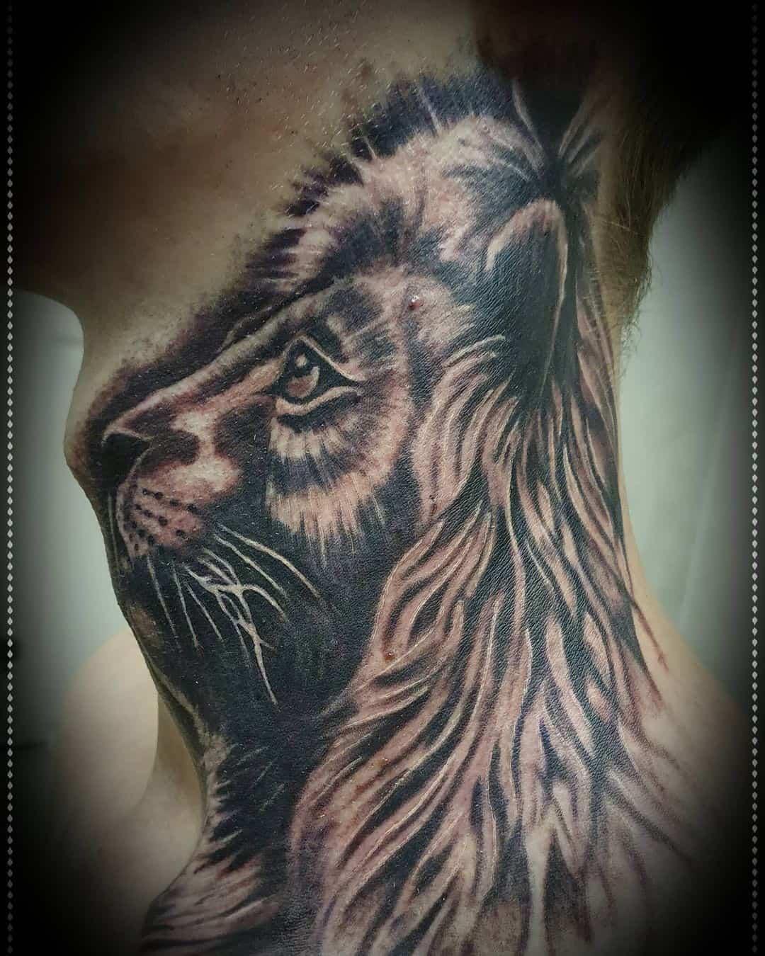 Lion neck tattoos 2