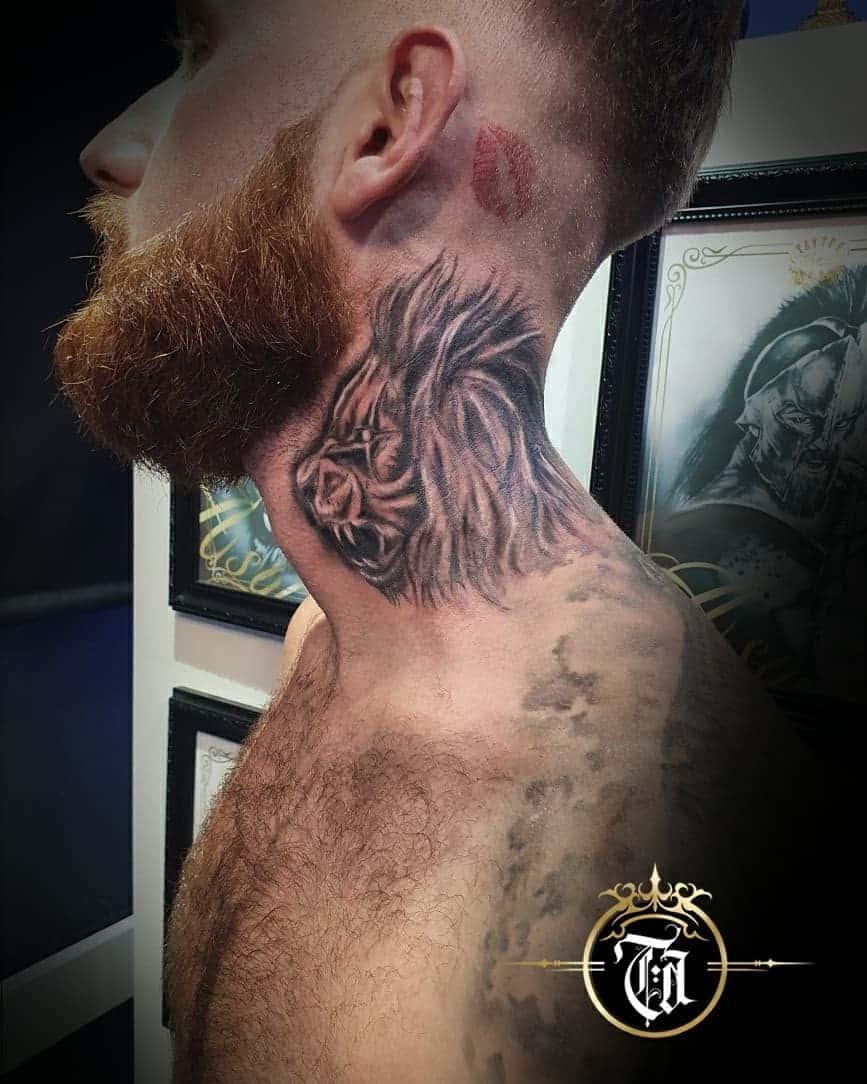Lion neck tattoos 3