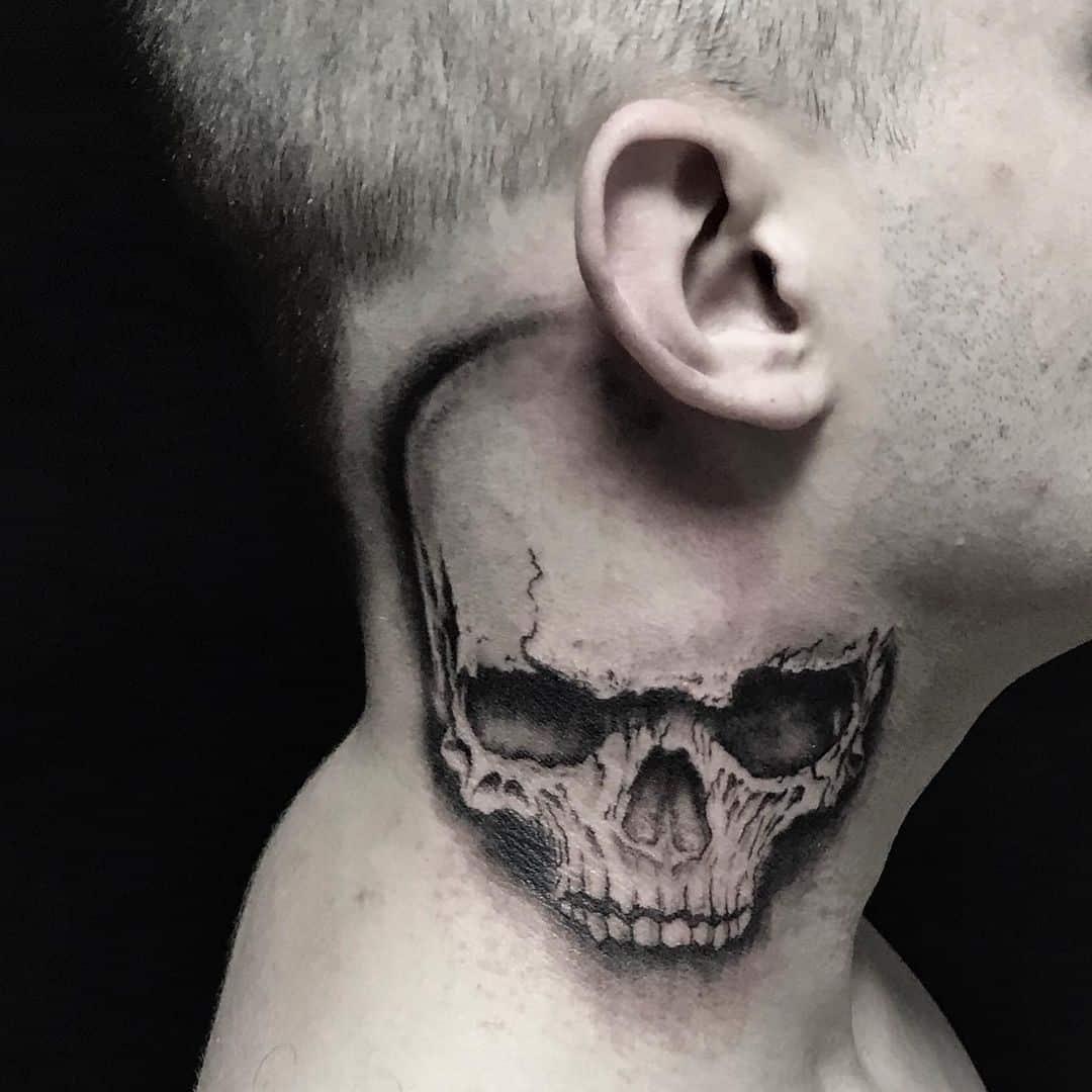 Skull neck tattoos 1