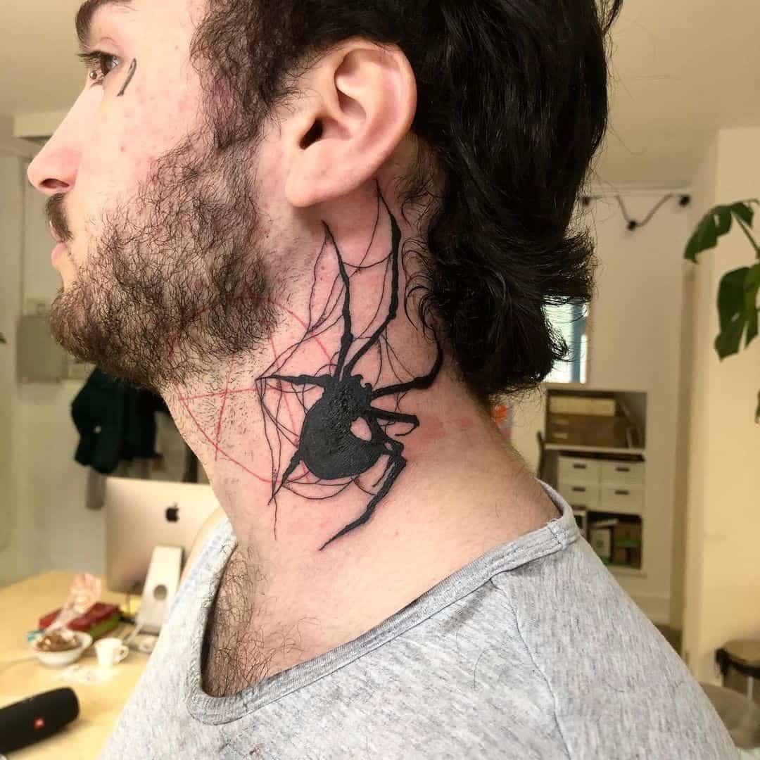 Spider Neck Tattoo 1