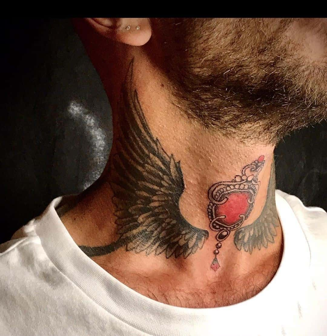 Wings Neck Tattoo 2