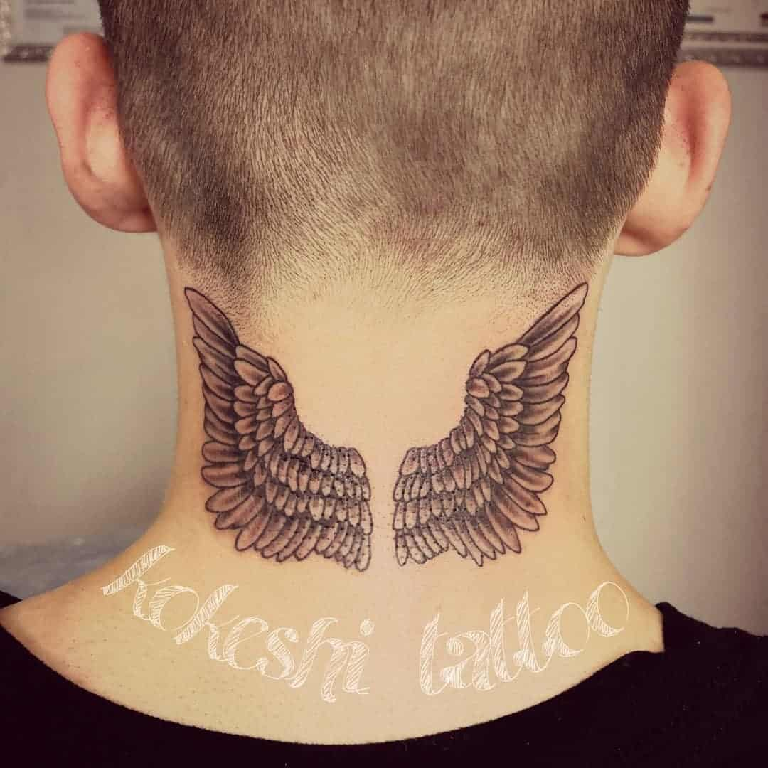 Wings Neck Tattoo 3