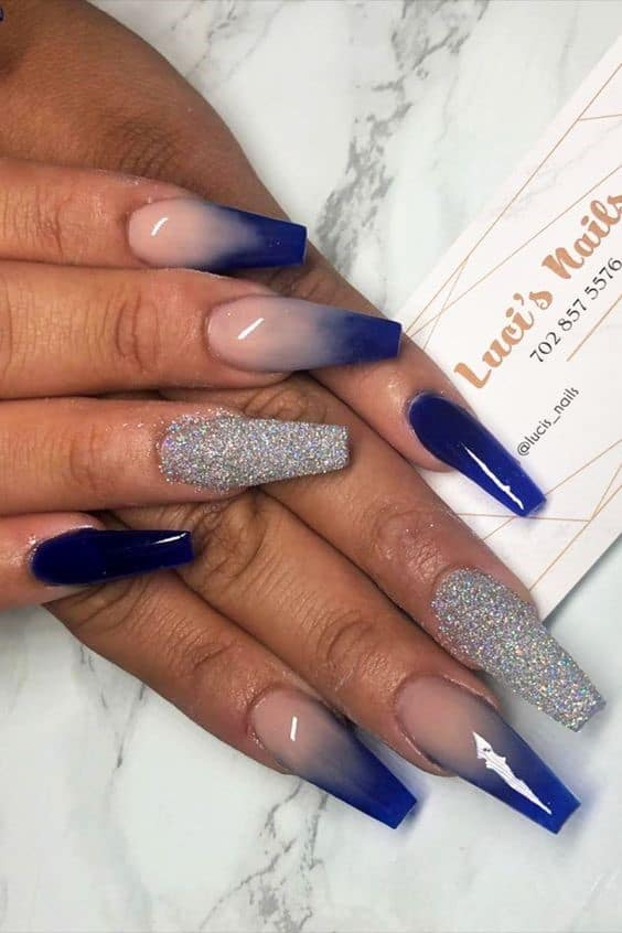 Beautiful Ombre Navy Blue Design With Glitter