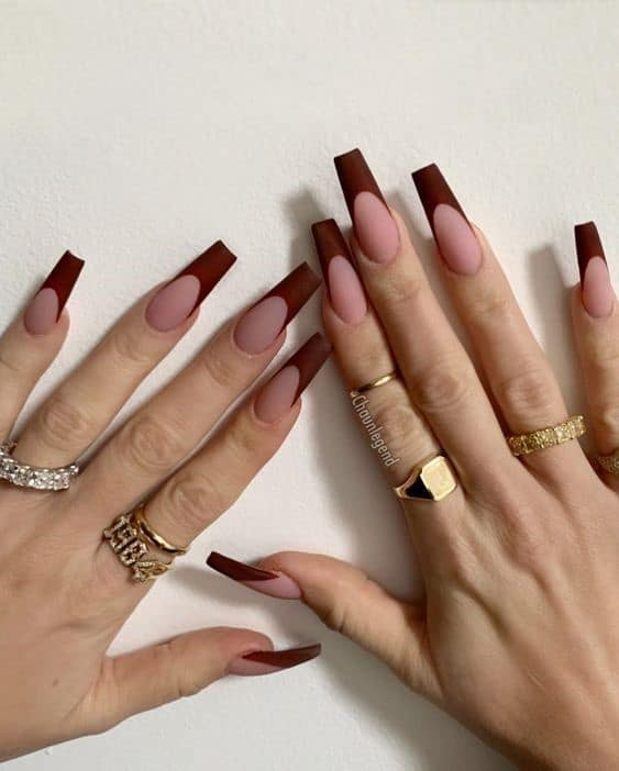 Chocolate Inspired Brown French Manicure