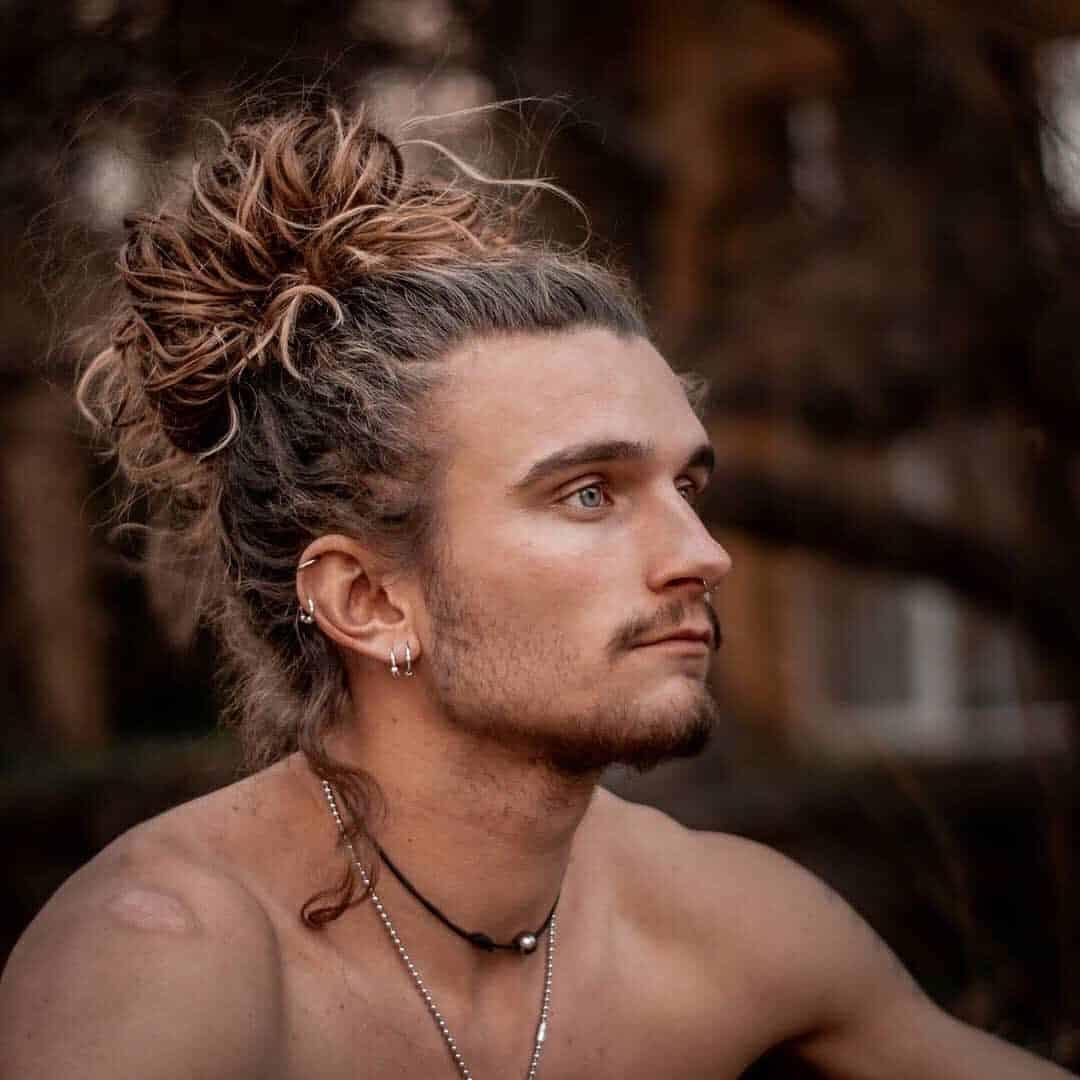 Curly Hair Man Bun