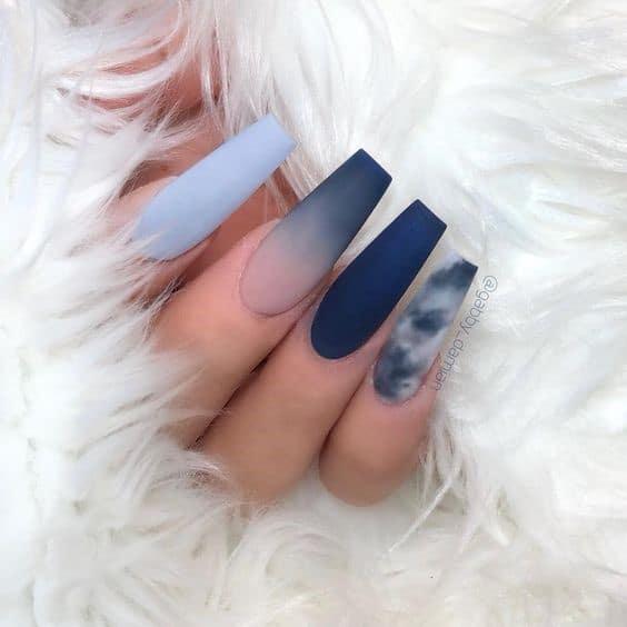 Dramatic & Long Stiletto Navy Blue Nails