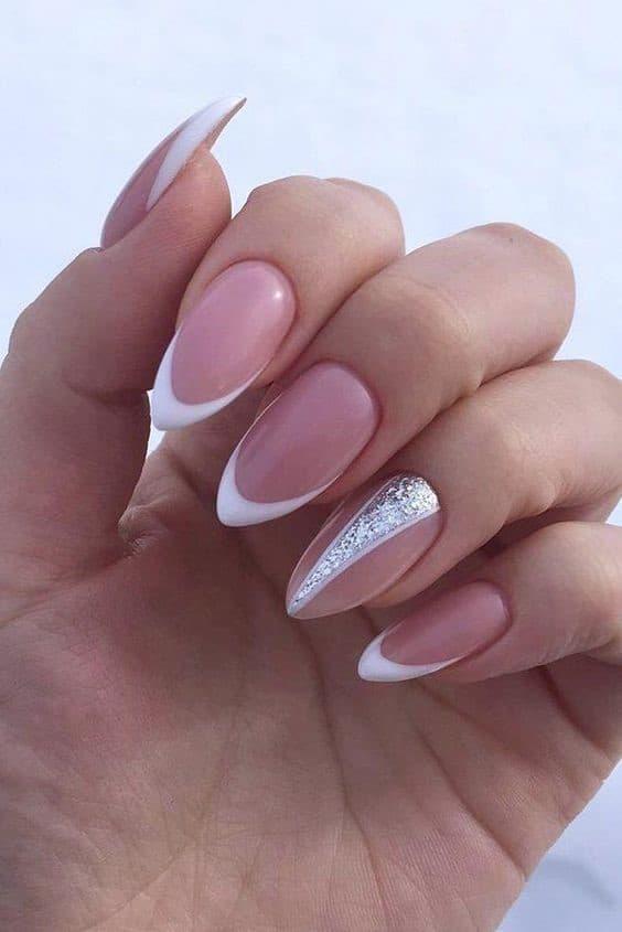 Feminine Acrylic White French Nails