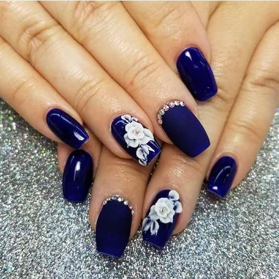 Floral Inspired Navy Blue Manicure