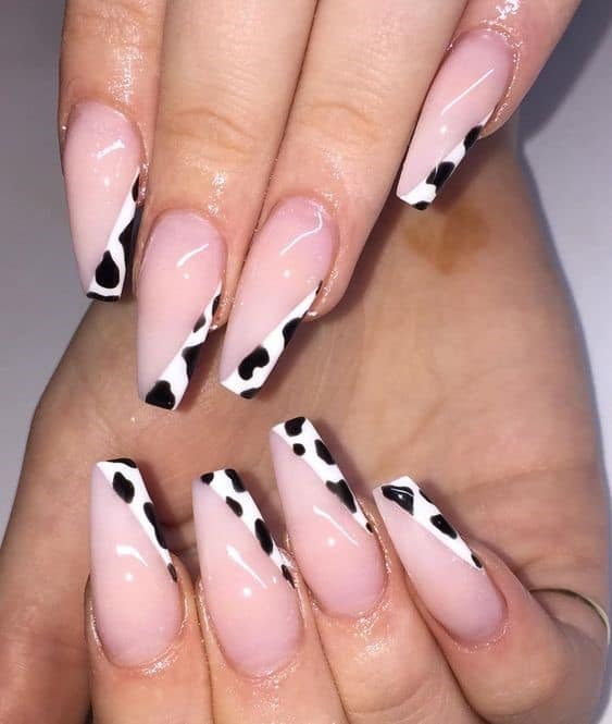 Funny Cow Print Inspired Manicure French Design
