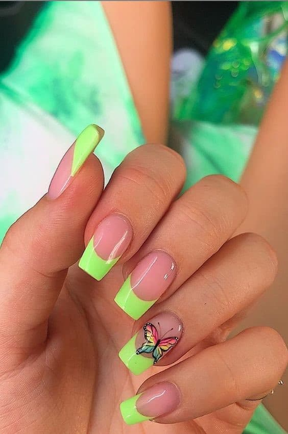 Lime Green Square Shaped Nails