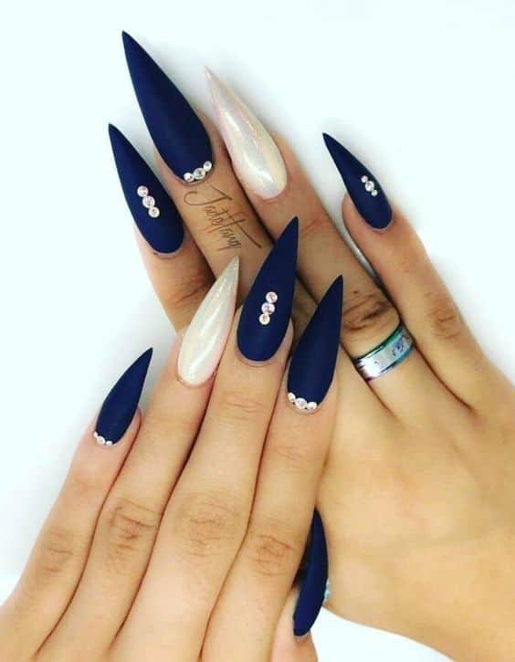 Long & Sharp Acrylic Navy Blue Nails