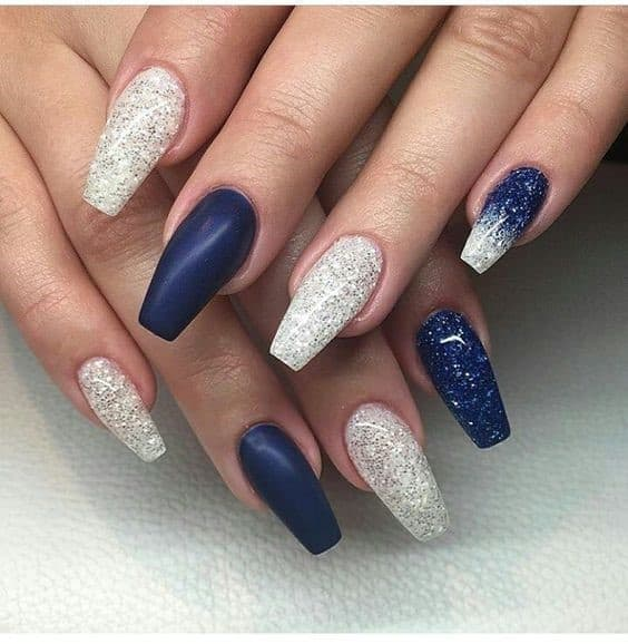 Long Square Shaped Acrylic Navy Blue Nails With White