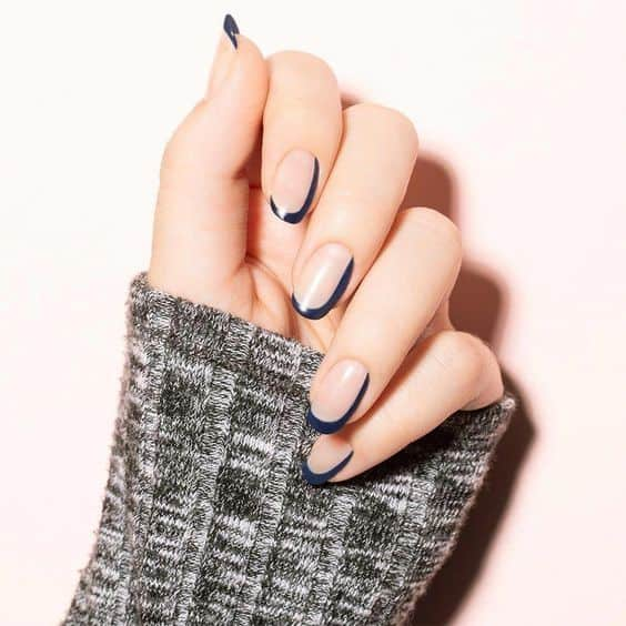 Navy Blue Nails French Manicure