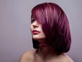Purple Highlight on Brown Hair