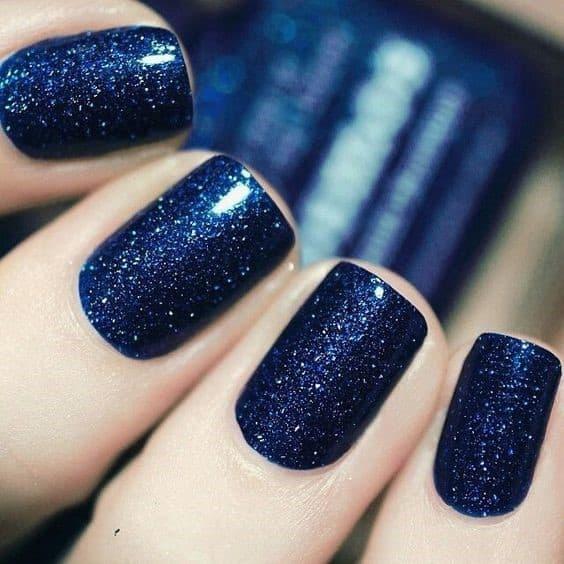 Shimmery & Short Navy Blue Nails