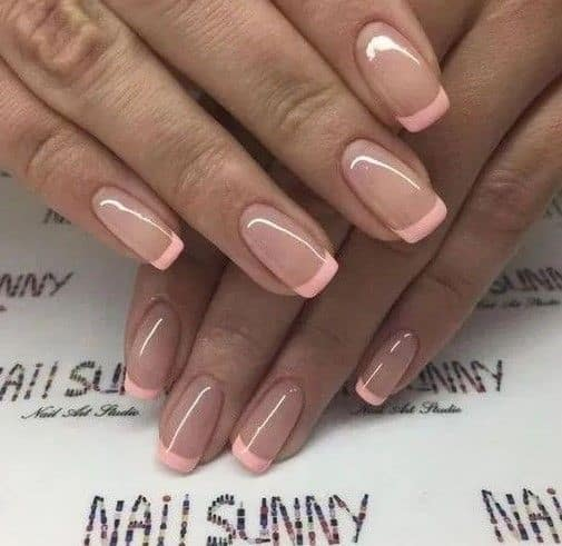 Short Light Pink Square Shaped French Nails