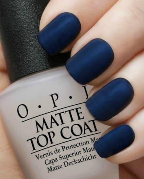 Short Natural Navy Blue Nails