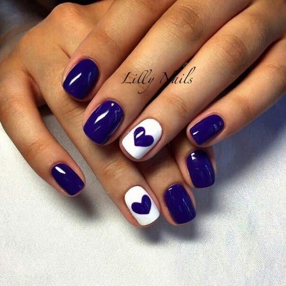 Short & Natural Square Shaped Navy Blue Nails