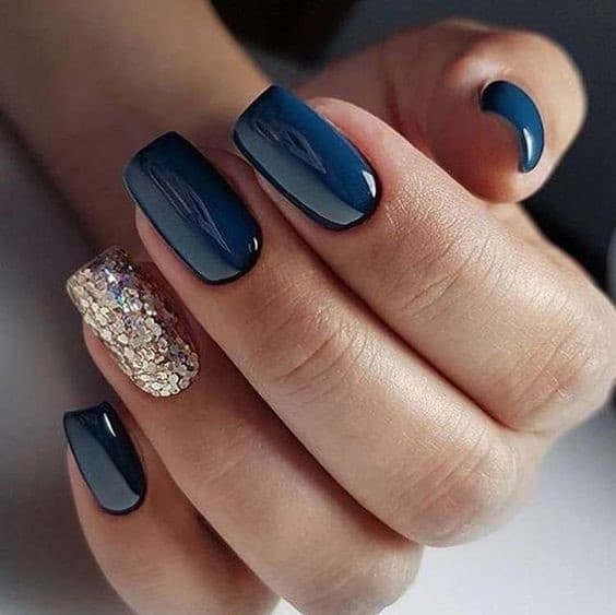 Short Navy Blue Square Nails With Gold Glitter