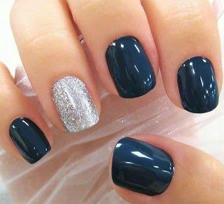Short Square Shaped Navy Blue Nails