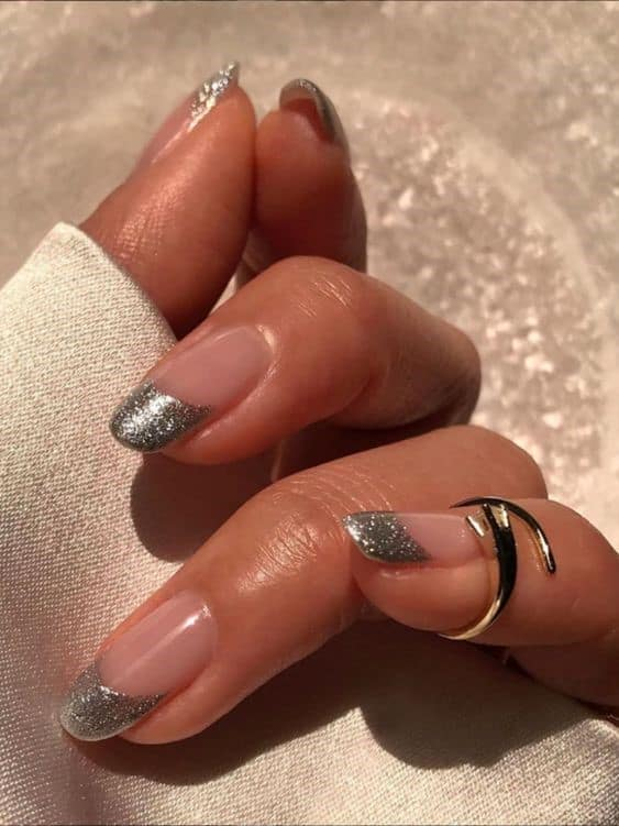Silver Shimmery Oval Shaped French Nails