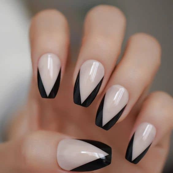 Square Shaped Black French Nails