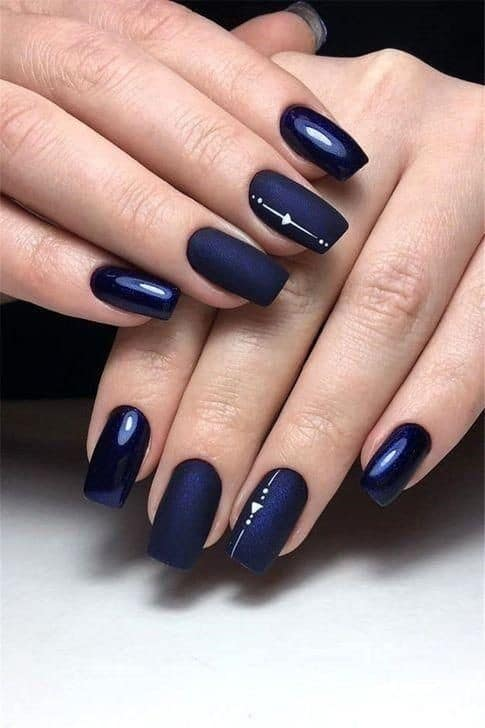 Square Shaped Navy Blue Manicure With Metallic & Shine