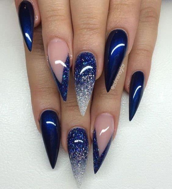 Super Long Acrylic Shaped Navy Blue Nails