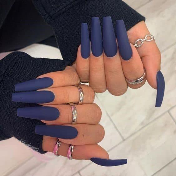 Super Long Matte Navy Blue Nails